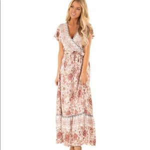 Aly Daly Floral V Neck Maxi Wrap Dress With Tie/ M